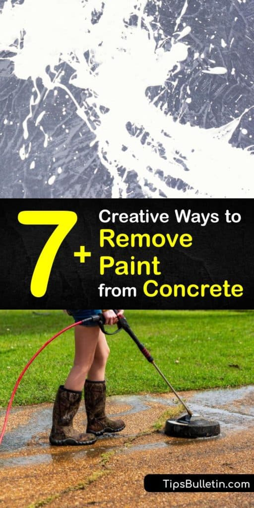Learn the best way to get a layer of paint off of concrete floors or other surfaces. Use a pressure washer, soda or sand blaster, or a scrub brush and vinegar, and be sure to use protective gear like gloves, goggles, and a respirator. #howto #remove #paint #concrete