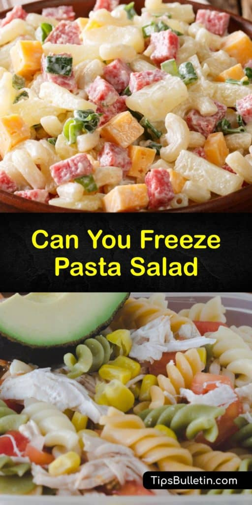 Learn how to freeze pasta salad made with a non-dairy salad dressing for the best results. A salad made of pasta, fresh veggies, olive oil, and Italian seasonings is low in carbohydrates and the easiest salad to freeze and defrost. #freezing #pasta #salad