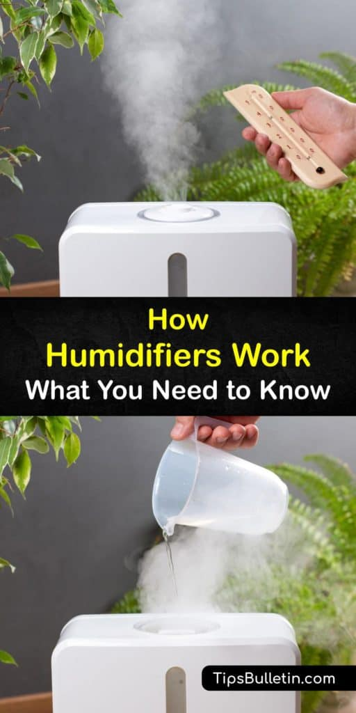 Educate yourself on how humidifiers work and the types of humidifiers available. Purchasing a cool mist humidifier or hooking one up to an air conditioner is a safe way to stop the build-up of dry air through your whole house and fill it with healthy water vapor instead. #how #humidifiers #work