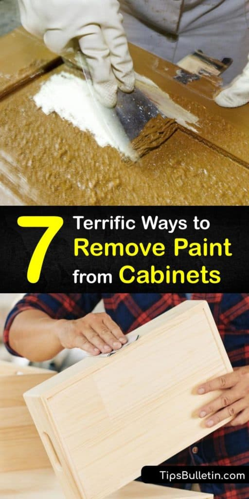 Remove old paint from cabinet doors with these DIY strategies that help you save money instead of hiring professionals. Low grit sandpaper, Citistrip paint stripper, mineral spirits, and a few drop cloths are all you need to clean up cabinets and give them a brand new look. #remove #paint #cabinets