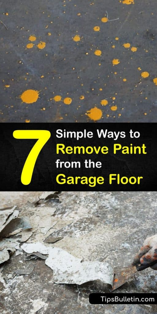 Remove paint stains from any concrete surface using these methods. Old paint on a concrete floor requires a pressure washer, scraper, and a paint remover. After using a paint remover, a wire brush or scrub brush works great at eliminating the stain. #remove #paint #garage #floor