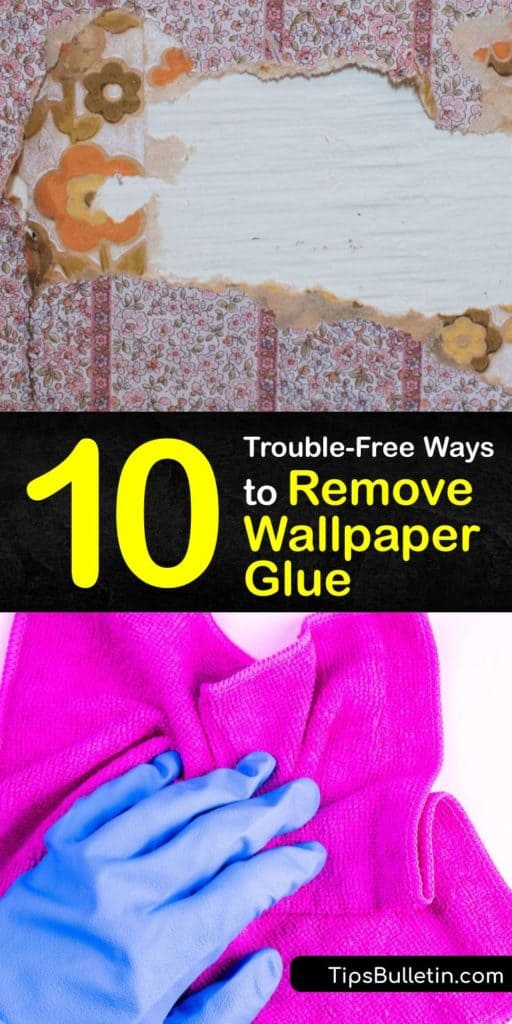Learn how to remove wallpaper glue from drywall and other wall surfaces with ingredients such as baking soda, fabric softener, and vinegar. Lay drop cloths and protect the baseboards with painters tape and finish by gently scraping away glue with a putty knife. #howto #remove #wallpaper #glue
