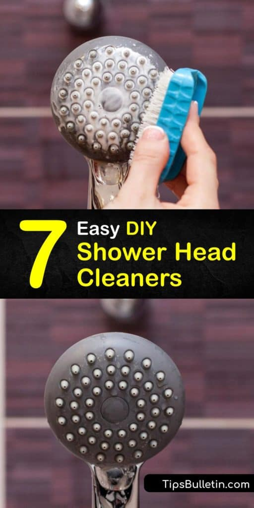 Learn how to clean your shower head to remove mineral buildup and grime and restore the water pressure. Clean away calcium and mineral deposits left behind from hard water by soaking the head in vinegar and baking soda and scrubbing it with a toothbrush. #DIY #showerhead #cleaner
