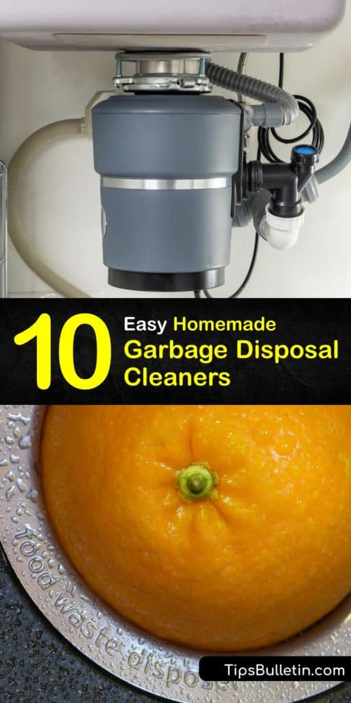 Discover the cleaning tips that make a DIY garbage disposal cleaner. A cup of vinegar, hot water, and dish soap gets rid of foul odors. On the other hand, ice cubes, a cup of salt, and cold water break up excess food particles. #homemade #cleaner #garbage #disposal