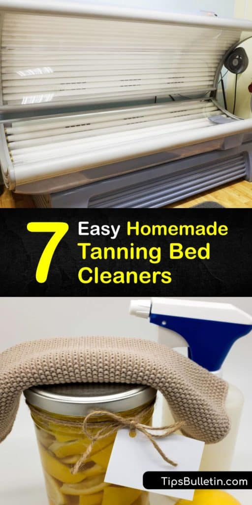 Tanning beds provide a more even tan than tanning lotions. When making a homemade cleaning product for your tanning bed, use the best ingredients like baking soda, white vinegar, and essential oils combined in a spray bottle to disinfect a tanning bed. #cleaner #tanning #bed #homemade