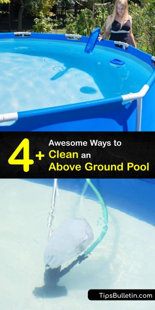 Learn the proper pool maintenance for your Intex above ground pool. Vacuuming pool water in an above and in-ground pool is critical. A pool vacuum cleans debris. The amount of chlorine must be monitored to ensure clean water free of bacteria. #howto #clean #above #ground #pool