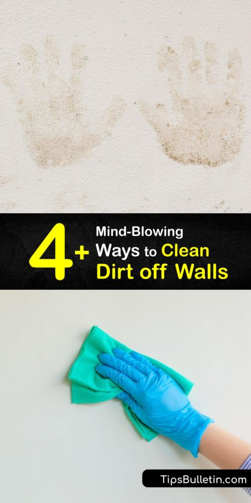 Clean-walls with a semigloss finish quickly so they are free of grime, crayon stains, and dirt. A mixture of dish soap and clean water is an amazing wall cleaner. Wring out your sponge and scrub in a circular motion for the most efficient cleaning. #howto #clean #dirt #walls
