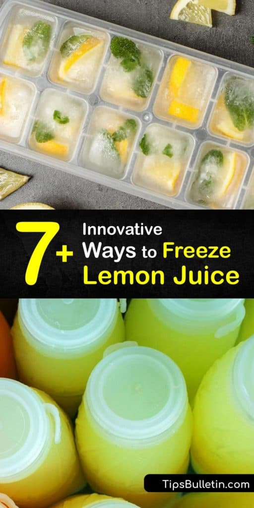 Use your juicer to freeze lemon juice. If you have a lot of lemons, juicing them and consolidating them into lemon juice cubes is a great way to make frozen lemon juice. A freezer bag is an excellent tool to preserve lemon zest from lemons on your lemon tree. #howto #freeze #lemon #juice