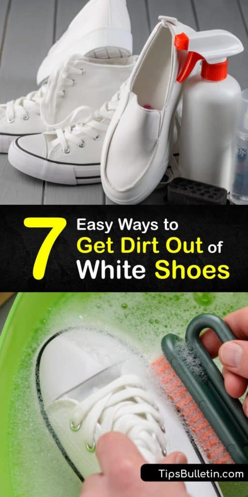 Learn how to clean white suede or canvas shoes to remove scuffs and everyday dirt. Toss them in the washing machine if they are machine washable or use a Magic Eraser, bleach, vinegar, or hydrogen peroxide and an old toothbrush to remove stubborn stains. #howto #remove #dirt #white #shoes