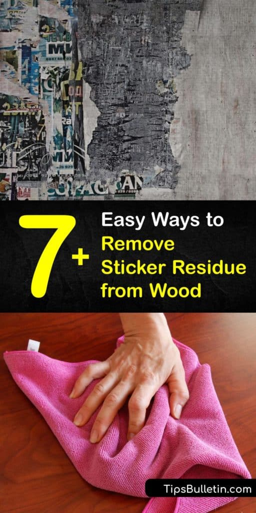 Start by treating old sticker residue with a hair dryer and a damp cloth soaked in hot water. Test adhesive removers like Goo Gone or vinegar to break down sticky residue on an inconspicuous area before using a scraper like a credit card. #remove #sticker #residue #wood