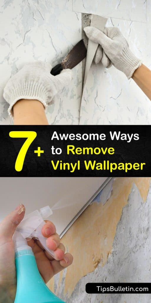 DIY vinyl wallpaper removal is easy with the right stripper and tools. After loosening the glue from the wallcovering with hot water and vinegar, scrape the glue with a putty knife or scoring tool. Then, fill and sand the gouges left behind from the old wallpaper. #howto #remove #vinyl #wallpaper
