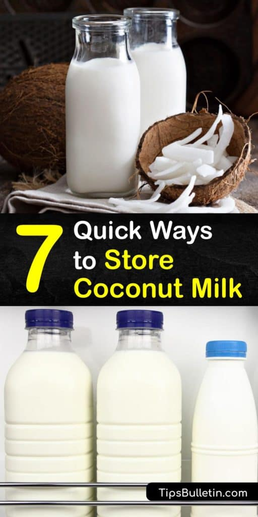 Learn how to store-coconut-milk, whether it's a can of coconut milk or homemade from fresh coconut. Freeze coconut milk to enjoy this sweet liquid past its expiration date. Store frozen coconut milk cubes in a freezer bag to use in a smoothie or soup. #coconut #milk #howto #storage