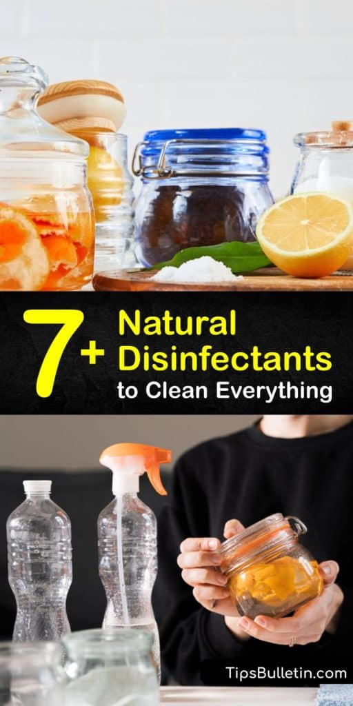 Create a DIY disinfecting spray with natural cleaning products. Mix hydrogen peroxide, vinegar, and tea tree oil into a spray bottle to create a homemade cleaner. This disinfectant works great on countertops and doesn't have harsh chemicals like bleach. #DIY #disinfectant #cleaner #natural
