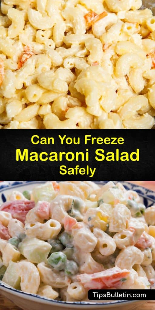 Save your macaroni salad recipe leftovers with these tips for storing foods in the freezer. Dicing your veggies, rinsing al dente pasta under cold water after you drain it, mixing in hard boiled eggs, and using an airtight container are the ideal steps to keep salad fresh. #freeze #macaroni #salad