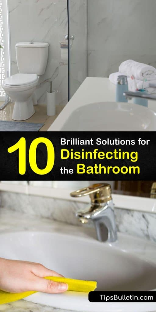 Discover how to keep your bathroom clean using the right cleaning products. Use a homemade disinfectant to clean away dirt buildup and mildew from the toilet bowl, countertops, faucet, and grout to keep the room fresh-smelling and germ-free. #disinfecting #bathroom #howto