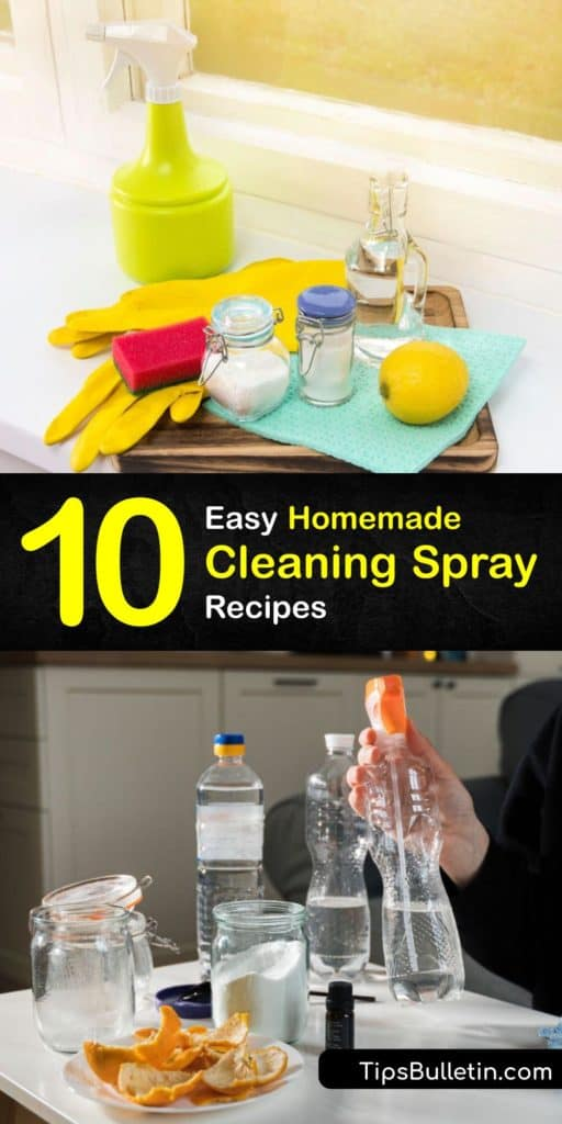 Discover how to make homemade cleaning sprays, from an all purpose cleaner with white vinegar to a window cleaner with rubbing alcohol and a stain remover with baking soda. Use bleach as a disinfectant or tea tree oil to improve a cleaner's scent. #cleaning #spray #homemade #recipe