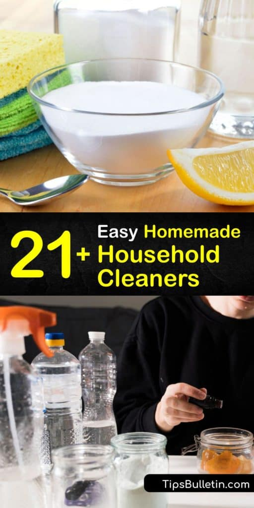 Discover how to make your own cleaning products to clean everything from the bathroom and kitchen to countertops and floors. Use Borax, white vinegar, rubbing alcohol, Castile soap, and other common household ingredients to create effective and safe cleaners. #homemade #cleaner #household