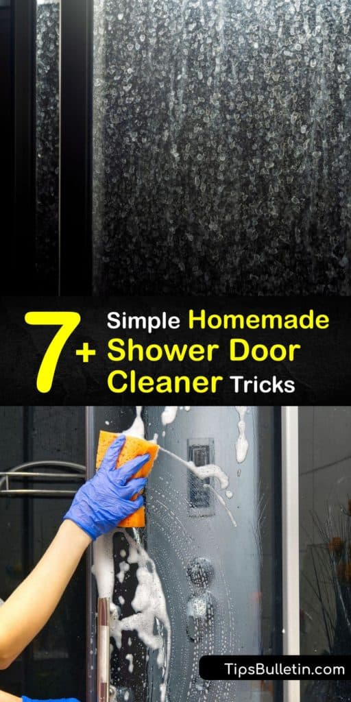 Get rid of hard water stains and soap scum on glass shower doors without chemicals from cleaning products. These DIY cleaning solutions dispose of mildew with only white vinegar, dish soap, and a squeegee for safe and easy cleaning practices. #homemade #shower #door #cleaner