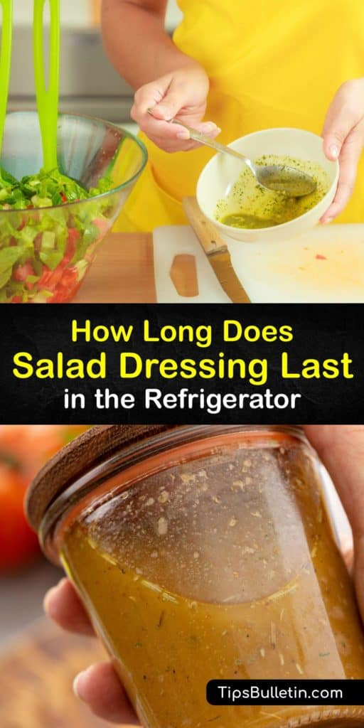 Learn how to make salad dressing last. Dairy-free balsamic vinaigrette and Italian dressing keep longer than dairy-based types like ranch. The shelf life of unopened dressing may be a bit longer than the expiration date if stored properly. #salad #dressing #last