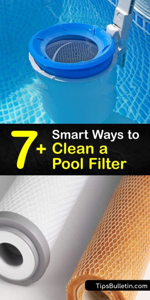 Learn how to clean home pool filtration systems. There are various DIY methods for cleaning cartridge filter pleats. Find out how to backwash a DE filter or sand filter when the pressure gauge is below its normal psi. #clean #pool #filters
