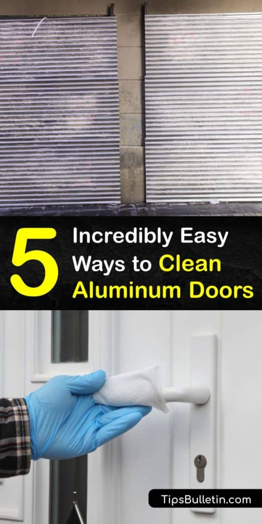 The best way to start cleaning aluminum frames is to use soapy water. Warm water loosens grime on the oxidation. To prevent corrosion of the aluminum's oxide protective layer, use a baking soda paste and fine steel wool to remove build up. #howto #clean #aluminum #doors