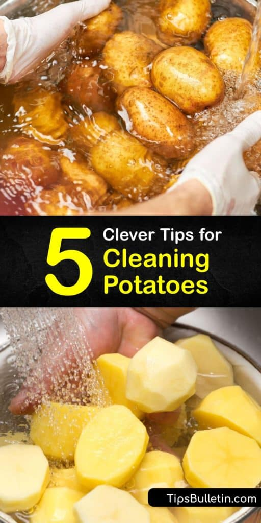 Potato skins are not only edible but contain many health benefits, whether you eat them in mashed potatoes or on a baked potato. Learn how to scrub potatoes clean to remove dirt and contaminants by rinsing them under running water and using a vegetable brush. #howto #clean #potatoes #washing