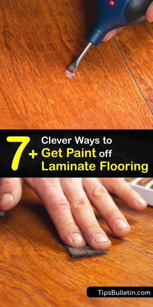 Discover a great cleaning solution for a latex paint spill on a laminate floor. Dried paint doesn't stand a chance against nail polish remover, mineral spirits, and rubbing alcohol. These cleaning agents clean up paint and act as a paint thinner. #howto #clean #paint #laminate #floor