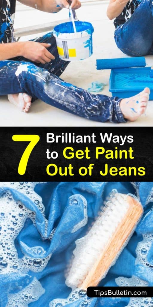 Learn how to remove paint from jeans in a few easy steps. Dab away excess paint, and treat acrylic paint and latex-paint stains with soap and warm water and launder them in the washing machine, and use turpentine, nail polish remover, or hairspray to remove oil paint. #howto #paint #jeans #remove