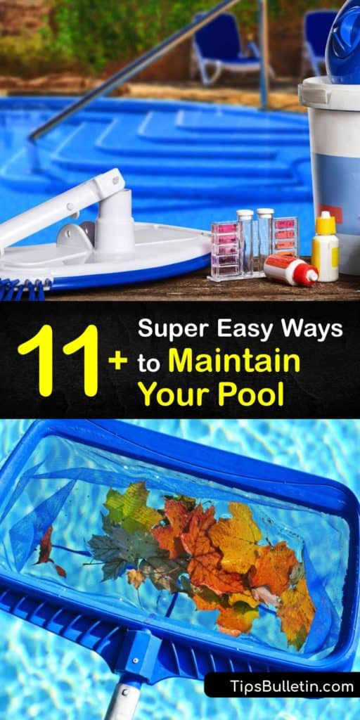 Learn proper pool maintenance and care to keep the pH levels steady and the water free of contaminants. Check the chlorine level and alkalinity with a test kit, and keep the water clean with a skimmer basket, pool vacuum, and sanitizer. #howto #pool #maintenance