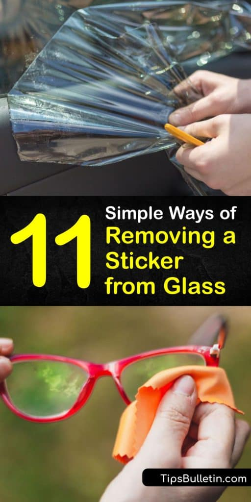 Scrape off sticker residue from glass objects with ease using tools you already own. The list of products to remove glue is endless including the use of cooking oil, nail polish remover, soapy water, baking soda, Goo Gone, paper towel, and a plastic scraper. #remove #sticker #glass
