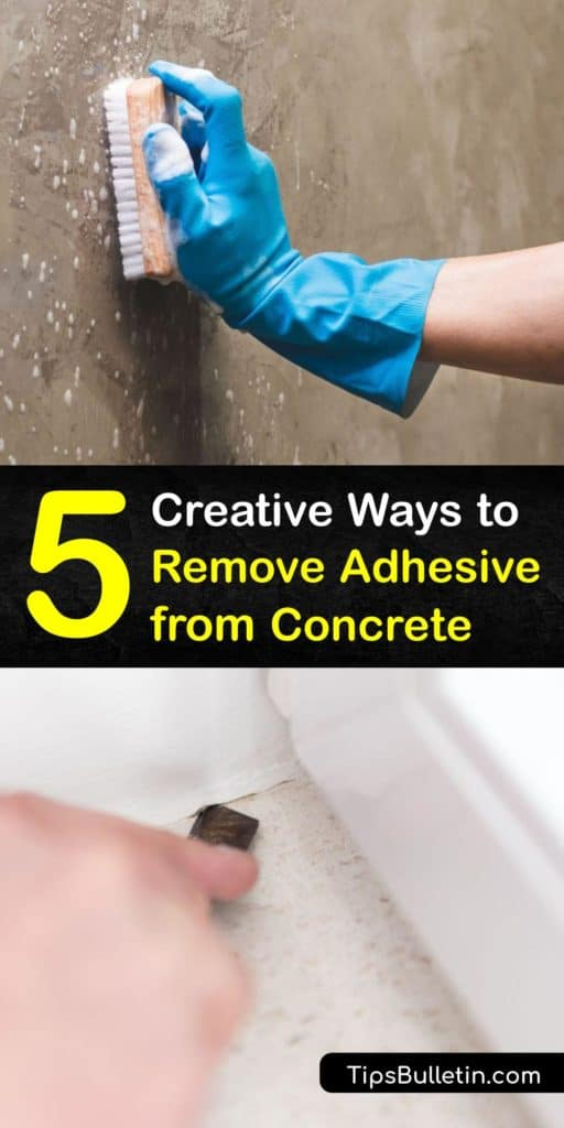 Learn how to remove laminate or carpet glue from a concrete floor after pulling up old carpeting during a home improvement project. Carpet adhesive is easy to remove using boiling water, ammonia, vinegar, and the right scraping tools. #howto #remove #adhesive #concrete