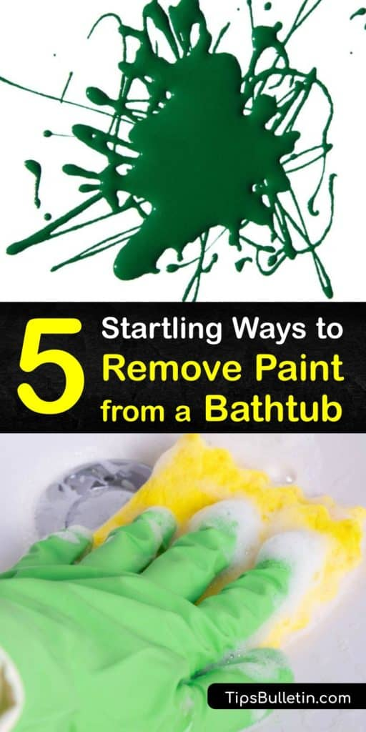 Discover the best way to remove paint from a bathtub without using a harsh paint stripper. Try a DIY paint remover like acetone, Ajax, baking soda, or vinegar to get paint off your acrylic-tub. Only use a scraper on porcelain or metal tubs. #howto #remove #paint #bathtub