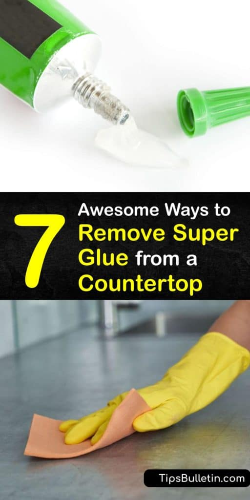 Learn how to remove super glue from a kitchen counter, whether it's laminate, quartz, or granite. Scrape with a razor blade, soak paper towel in water, or use acetone on a cotton ball. After scrubbing off the adhesive, wipe with a damp cloth and soapy water. #superglue #remove #countertop