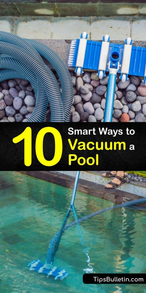 Learn everything you need to know about cleaning an inground and above ground pool. Attach the telescopic pole and vacuum hose to the vacuum brush and the other end of the hose to the suction hole or vacuum plate to remove dirt and debris from the bottom of the pool. #howto #operate #pool #vacuum