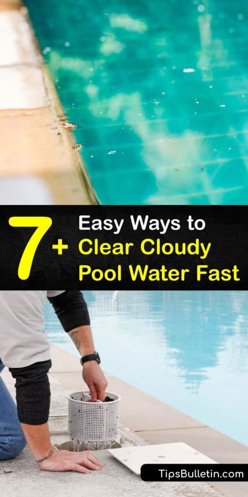 Utilize your swimming pool all summer when you use these helpful tips to backwash the pool filter and skimmer, vacuum the bottom of the pool, check the ppm for calcium hardness, and make a DIY pool clarifier from baking soda. #clear #cloudy #pool #water