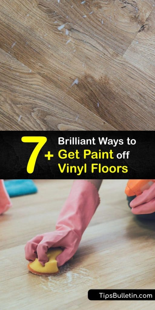 Learn how to get paint off your vinyl flooring, whether it is wet or dried paint, or oil-based or latex paint. Use paper towels to remove as much wet paint as possible and use mineral spirits, acetone, or a solvent to clean dried paint from the surface. #howto #remove #paint #vinyl #floor