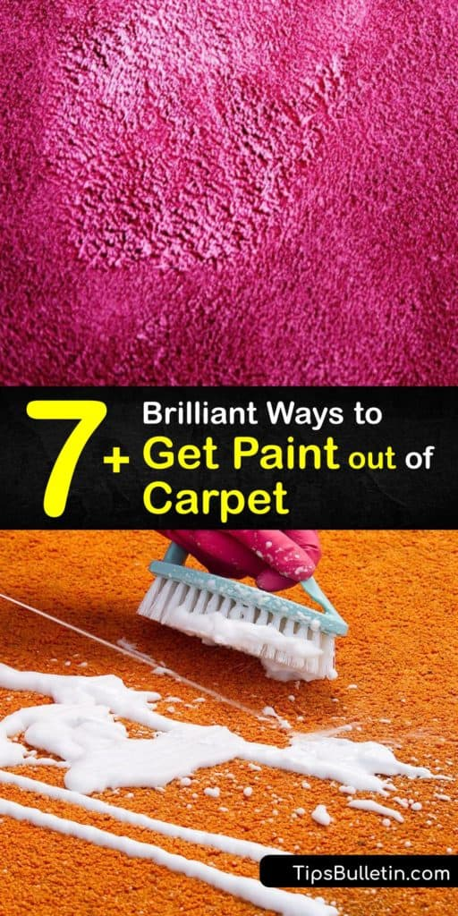 Discover the best carpet cleaning tips to lift paint spills with soapy hot water, acetone, and more. First remove as much latex, oil, or acrylic paint as you can with a putty knife. Dried paint is harder to clean once it bonds to the fibers. #cleaning #paint #carpet #remove