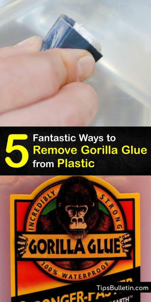 Learn how to break down adhesive ingredients in super glue like polyurethane. Treat the affected area with a cotton ball soaked in rubbing alcohol or paper towel and soapy water. Sandpaper and a scraper work great to break off large flakes. #howto #remove #gorillaglue #plastic