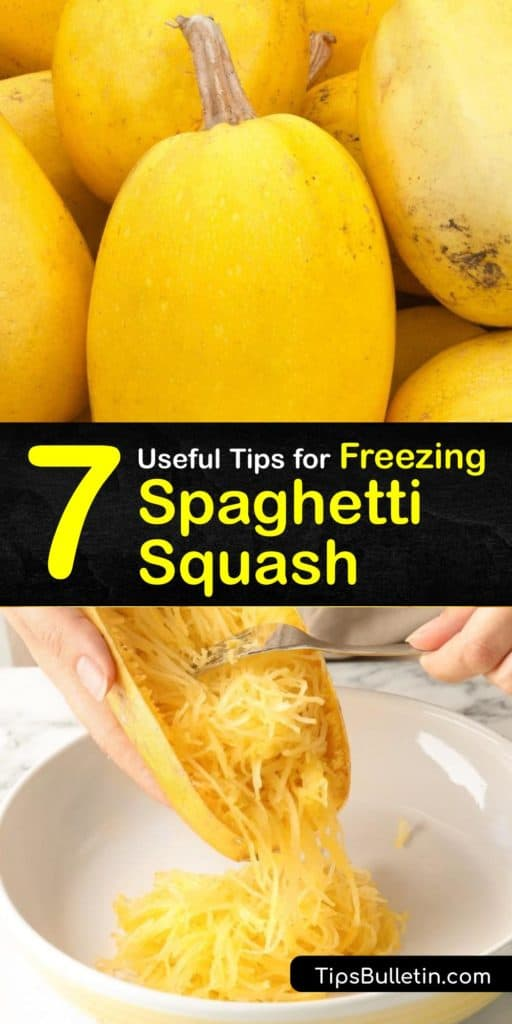 Discover the best way to freeze cooked spaghetti squash. Use a colander to drain excess water so your squash strands aren't mushy when thawed. Add a little olive oil when you reheat it, then cook spaghetti squash in your favorite recipe just like normal. #freezing #spaghetti #squash